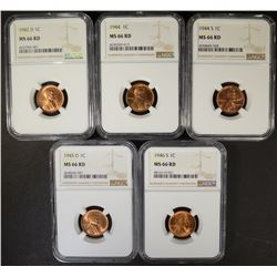5 LINCOLN CENTS NGC MS66RED: 1942-D, 44-P,S, 45-D, & 46-S