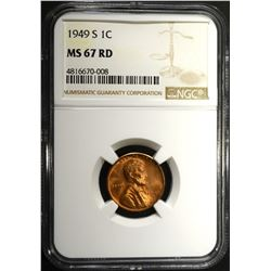 1949-S LINCOLN CENT, NGC MS-67 RED
