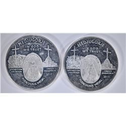 2-MEDJUGORIE ONE OUNCE SILVER ROUNDS