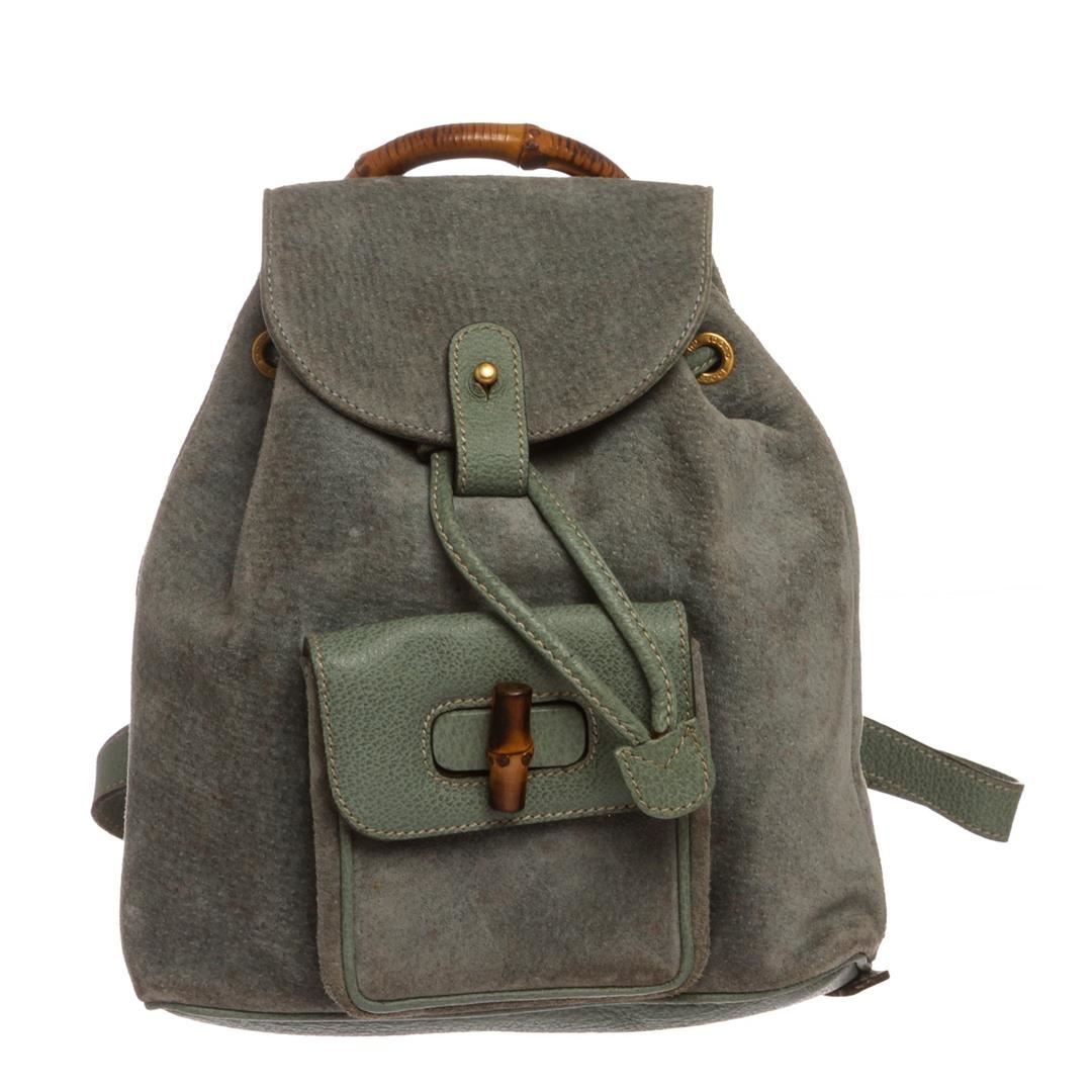 86b82f0290cceb Image 1 : Gucci Blue Green Suede Mini Backpack ...