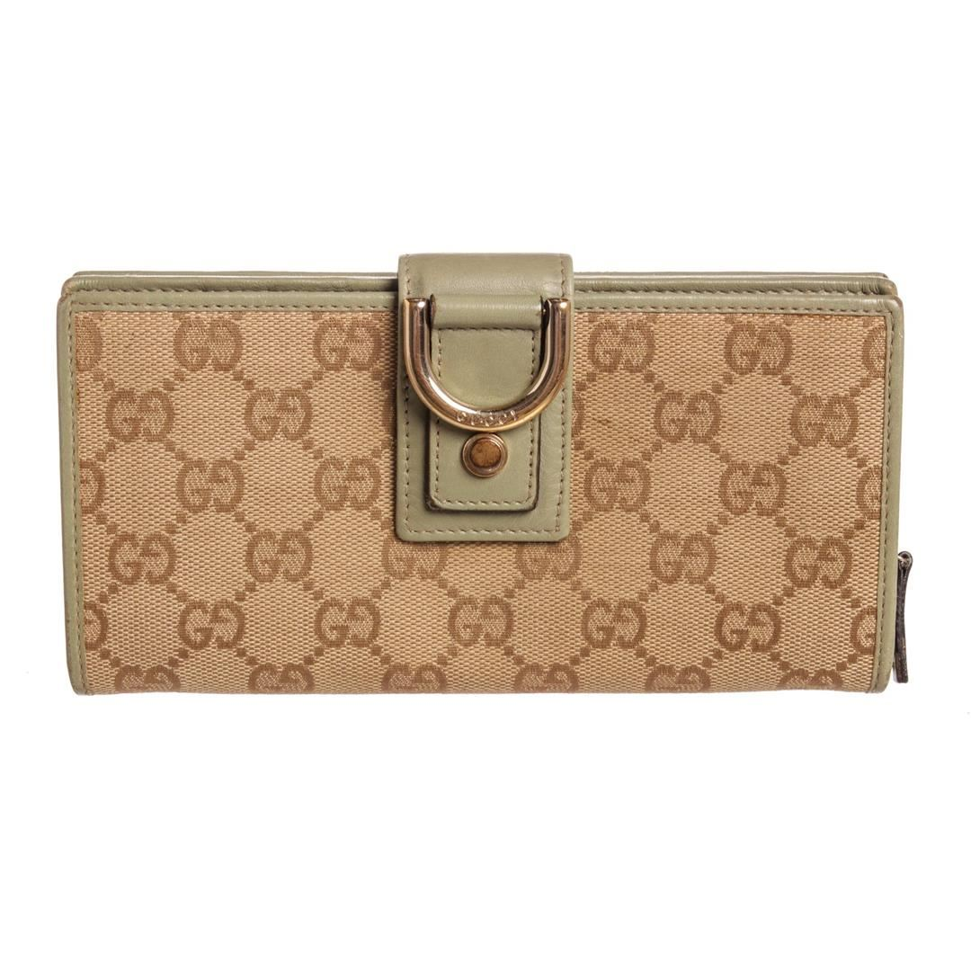 cfacb20519f0 Image 1 : Gucci Brown Monogram Canvas Leather Trim D Ring Continental Wallet  ...