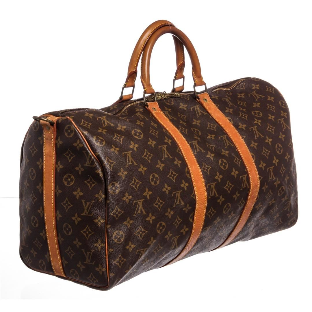 f54b65ba0853 Image 1   Louis Vuitton Monogram Canvas Leather Keepall 50 cm Bandouliere  Duffle Bag ...
