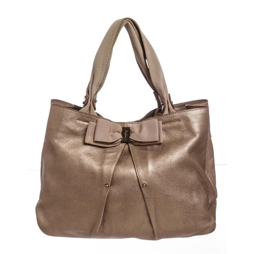 bfdfc0ca98 Image 1   Salvatore Ferragamo Metallic Bronze Leather Miss Vara Bow Tote Bag  ...