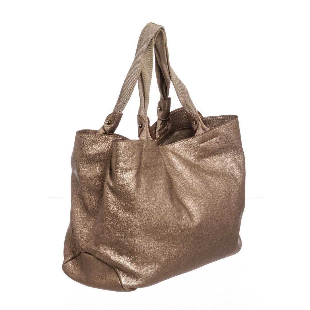 a38fb106f6 ... Image 3   Salvatore Ferragamo Metallic Bronze Leather Miss Vara Bow  Tote Bag ...