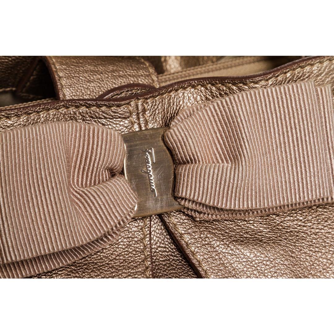 5540874bbf ... Image 5   Salvatore Ferragamo Metallic Bronze Leather Miss Vara Bow  Tote Bag ...