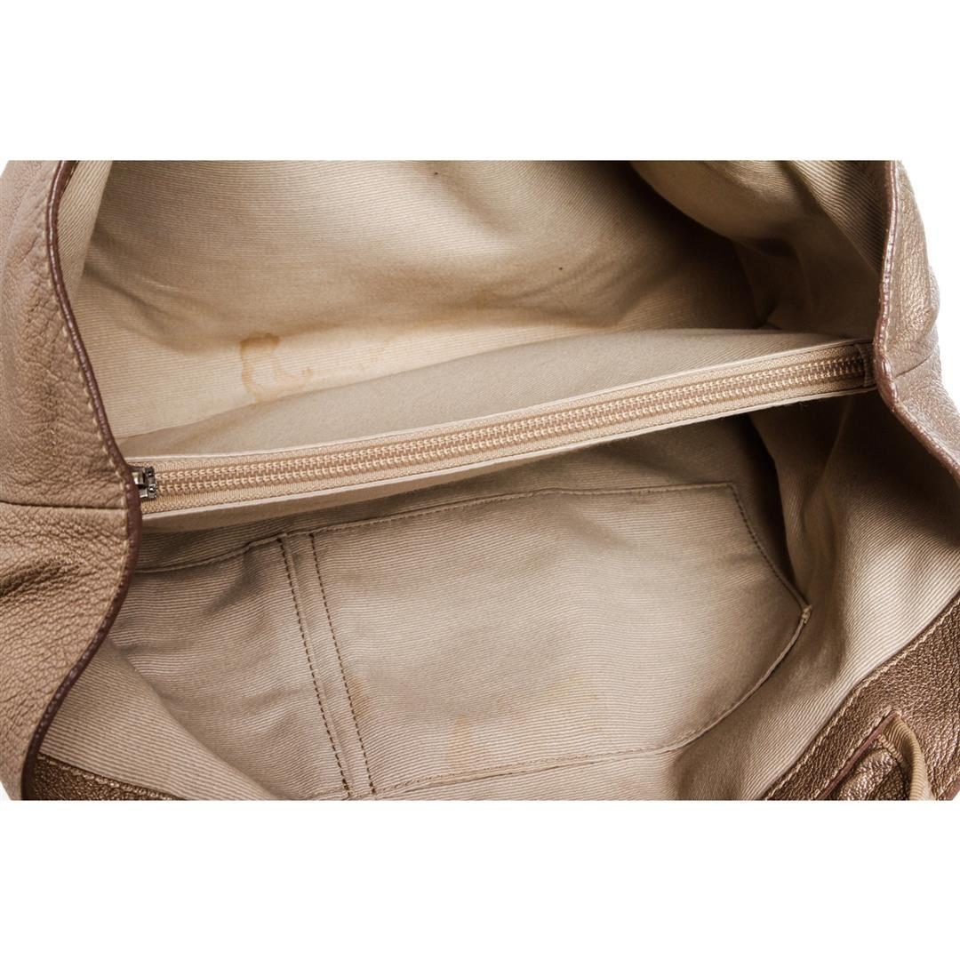 2dafa5abb1 ... Image 6   Salvatore Ferragamo Metallic Bronze Leather Miss Vara Bow  Tote Bag ...
