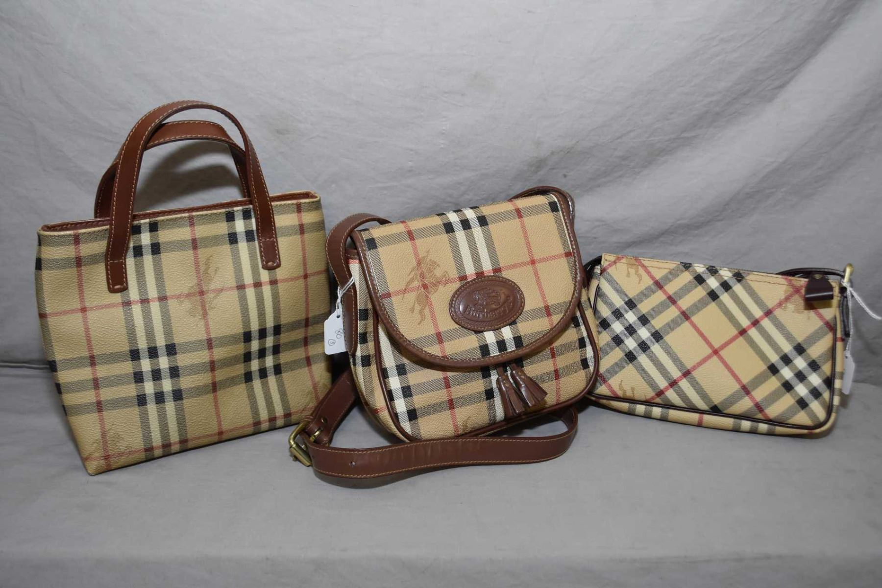 Image 1   Three genuine Burberry Knights Nova check canvas and leather bags  including smallest Haymarket ... 24bbe809e72a7