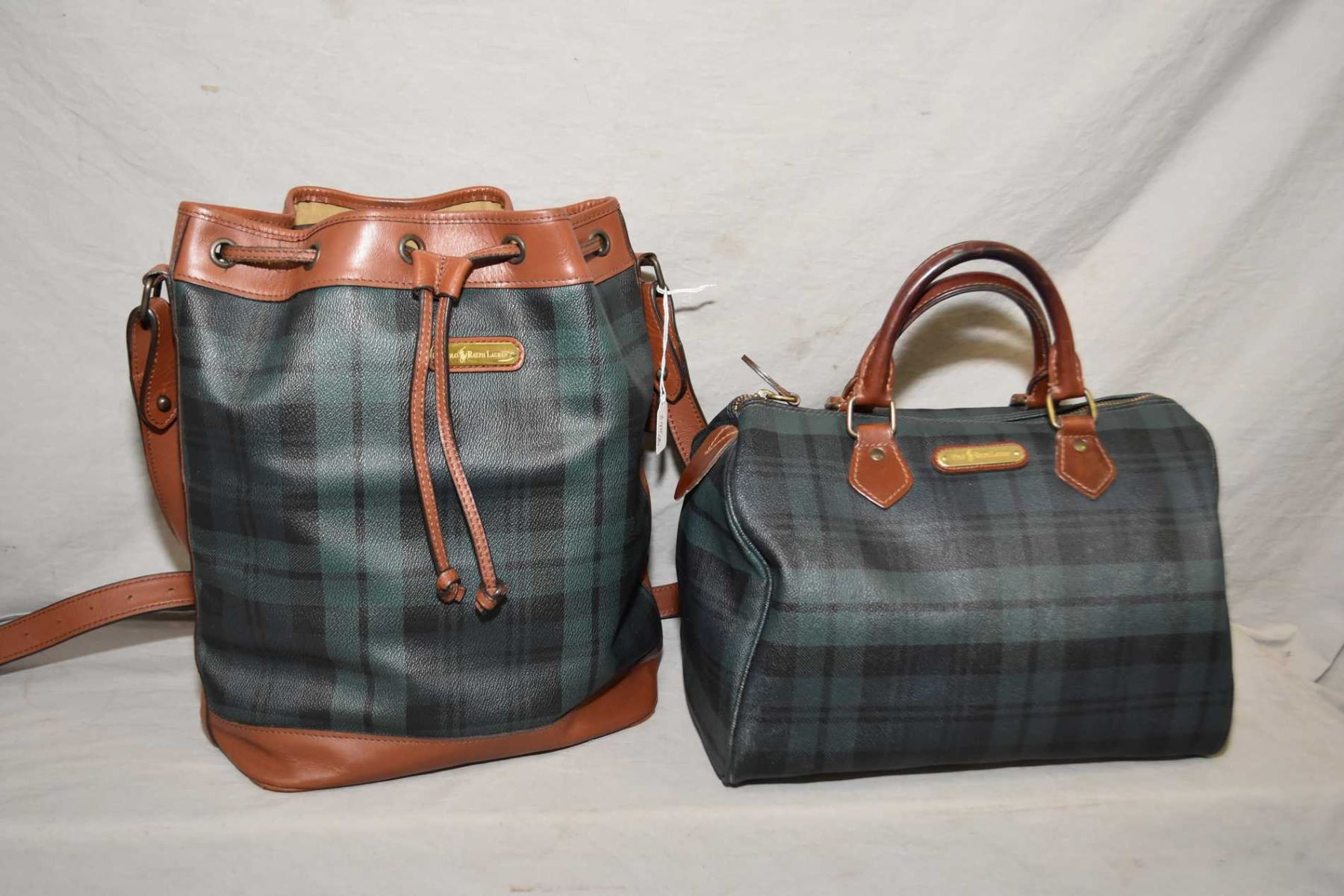 Image 1   Two vintage genuine Ralph Lauren bags including a Polo green plaid  Boston bag ... 7f2393ca892f8