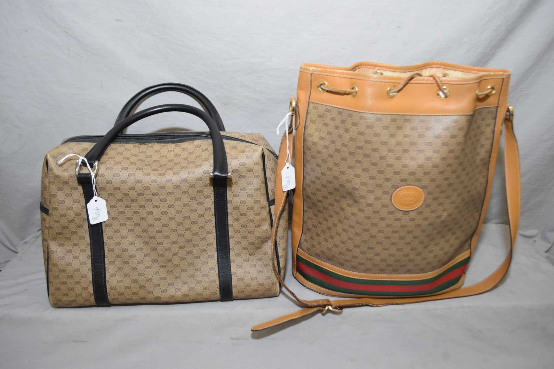 dbe58dea74c61 Two vintage genuine Gucci bags including bucket tote-note some ...