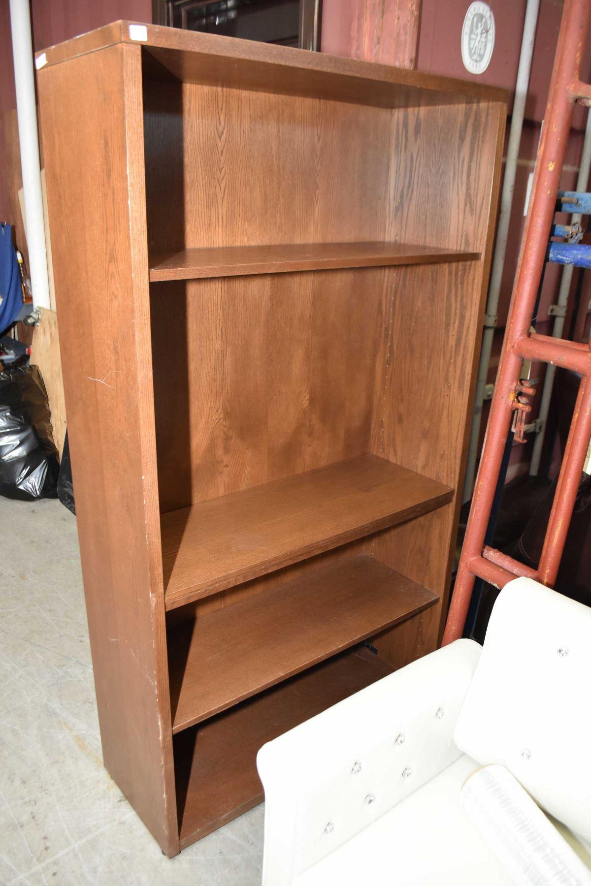 Two Semi Contemporary Oak Finish Open Book Shelves