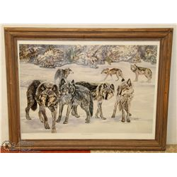 LINDA KENNARD FRAMED PRINT  TIMBER WOLVES  SIGNED
