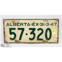 VINTAGE ALBERTA LICENSE PLATE - MARCH 31-47.