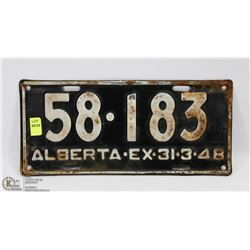 VINTAGE ALBERTA LICENSE PLATE - MARCH 31-48.