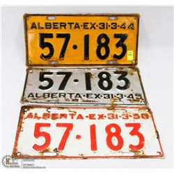 LOT OF 3 VINTAGE LICENSE PLATES YEARS 1944, 1949 &