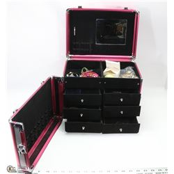 JEWELLERY/MAKEUP CASE WITH CONTENTS (PINK & GRAY)