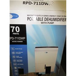 New Whynter Portable De-Humidifier with pump / 70pints model # RPD-711DWP