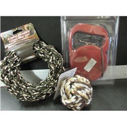 Lot of 3 New Dog Items / 25ft  Retractable Leash / Braided rope Ball & Hoop