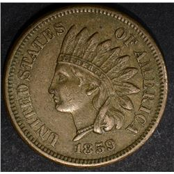 1859 INDIAN CENT, XF