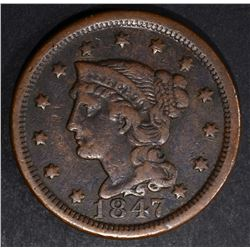 1847 LARGE CENT, VF N-37 SCARCE!!