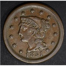 1851 LARGE CENT, XF N-37 6-6 VERY RARE!