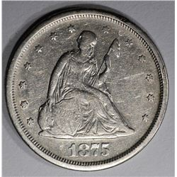 1875-S TWENTY CENT PIECE, XF