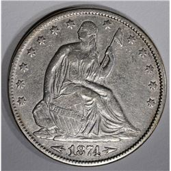 1874 WITH ARROWS SEATED HALF DOLLAR, XF