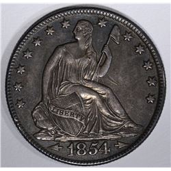 1854-O WITH ARROWS SEATED HALF DOLLAR, CH BU
