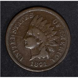 1871 INDIAN CENT, CHOICE VG