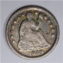 1849-O SEATED HALF DIME, F/VF KEY DATE!