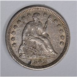 1843 SEATED HALF DIME, XF/AU
