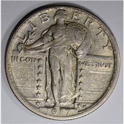 1917 TYPE-2 STANDING LIBERTY QUARTER, XF/AU