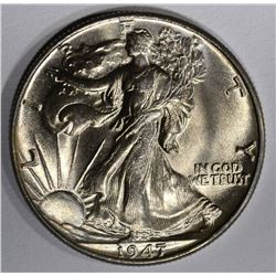 1947 WALKING LIBERTY HALF, GEM BU