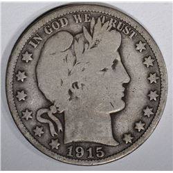 1915 BARBER HALF DOLLAR, VG KEY DATE