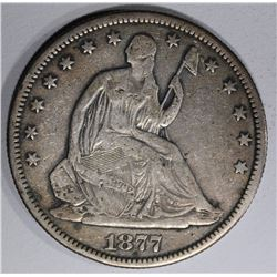 1877-S SEATED HALF DOLLAR, FINE