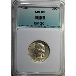 1946 WASHINGTON QUARTER, EMGC SUPERB GEM BU