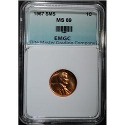 1967 SMS LINCOLN CENT EMGC SUPERB GEM BU+++