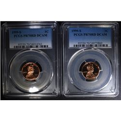 2 - 1999 S LINCOLN CENTS PCGS PR70RD