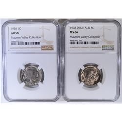 NGC GRADED BUFFALO NICKELS 1936 AU-58 & 38-D MS-66