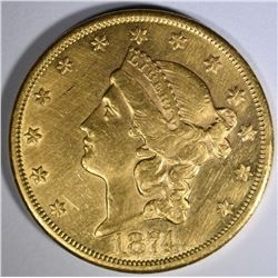 1874-CC $20 GOLD LIBERTY  AU/BU