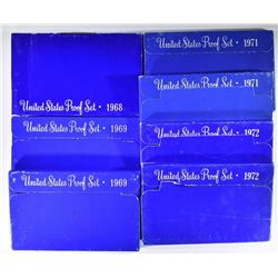 2- 1972, 2- 1971, 2- 1969 & 1968 PROOF SETS