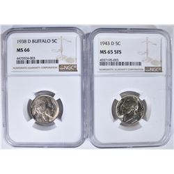 2 NGC NICKELS: 1938-D BUFFALO MS 66 &