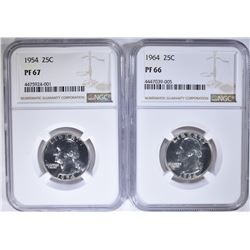 NGC WASHINGTON QUARTERS: 1954 PF 67 & 1964 PF 66