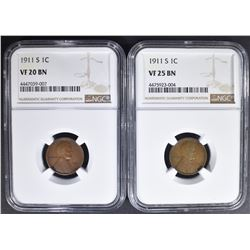 2 - NGC 1911-S LINCOLN CENTS: