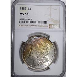 1887 MORGAN DOLLAR NGC MS 63