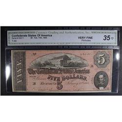 1864 $5 CONFEDERATE STATES OF AMERICA