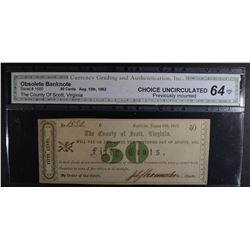 1862 FIFTY CENTS - OBSOLETE BANKNOTE