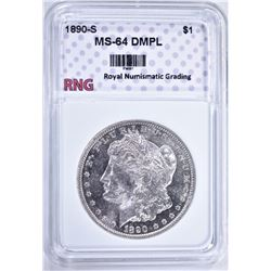 1890-S MORGAN DOLLAR RNG CH BU DMPL