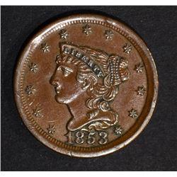 1853 HALF CENT  CH BU