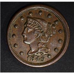 1849 LARGE CENT  AU+