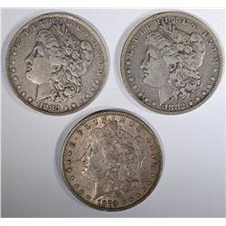 1879 XF, 1882-O VF & 1883-O VF, MORGAN DOLLARS